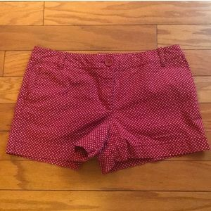 LOFT Dark Red/White Dots Shorts